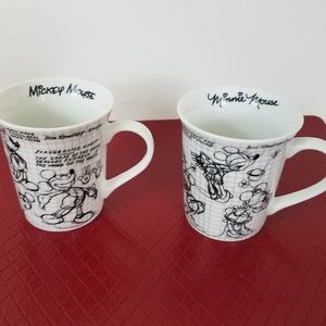 Disney Minnie & Mickey Mouse cups mugs set of 2